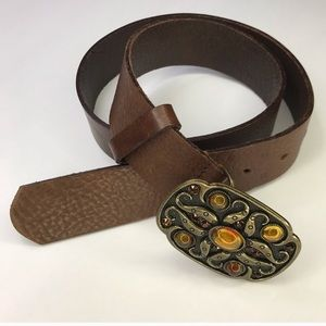 VINTAGE Brown Boho Belt With Gold Jeweled Buckle